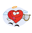 Red Heart Angel Character Flying With A Lyre vector image