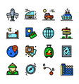 thin line travel icons set vector image