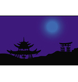 asian night silhouette vector image