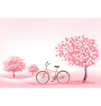 Spring background with a blossoming tree and a vector image vector image