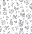 Pineapple mood doodle pattern vector image