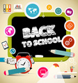 Back to School Title on Black Board with Education vector image