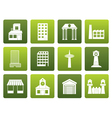 Flat different kind of building and City icons vector image vector image