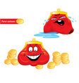 Cartoon emotions set - funny red purses on white vector image vector image