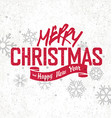 Merry Christmas Greeting Vintage postcard Red on vector image vector image