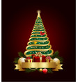 golden decorative christmas tree with banner and vector image vector image