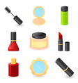 beautiful ladys cosmetics icons vector image vector image