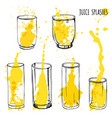 juice splashes in glasses hand draw vector image