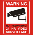 warning sticker for security alarm cctv camera vector image