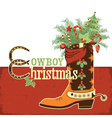Cowboy christmas boot vector image