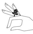 cartoon hand with diamond ring image vector image
