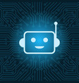 chat bot face icon smiling robot over blue circuit vector image