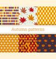 seamless autumn patterns set vector image