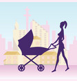 young woman with baby carriage vector image
