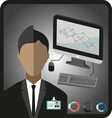 Business infographic with icons person computer ch vector image