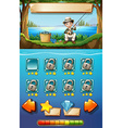 Game template with man fishing in background vector image