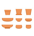 bonsai tree pot in realistic style clay plant pot vector image