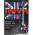 Rock festival design template with guitar vector image vector image