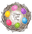 Colorful eggs in bird nest for Easter day greeting vector image