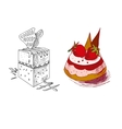 hand drawn confections dessert pastry bakery vector image