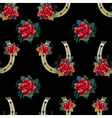 Pattern with horseshoes rabbit foots and roses vector image