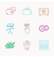 Cash money safe box and calculator icons vector image