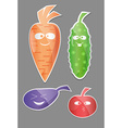 Vegetable icon set Labels with Vegetables Carrot vector image