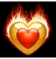 jewelry heart in fire vector image vector image