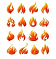 Fire flames set 3d red icons vector image