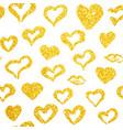 gold hearts seamless pattern vector image