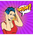 pop art surprised woman face with smile and a WOW vector image