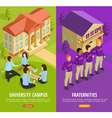 University Education 2 Isometric Vertical Banners vector image