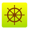 ship wheel sign  brown icon at green vector image