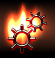 Couple rotating gears in flames vector