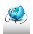Stethoscope against a globe vector image vector image