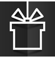 White gift box line silhouette frame with shadow vector image vector image