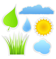 Stickers with nature elements vector image