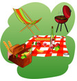 chaise longue grill blanket basket with picnic vector image