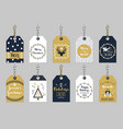 golden and dark blue christmas and holiday tags vector image