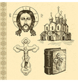 Orthodox symbols hand drawn vector image