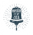 Retro ship bell tee design Vintage sea label vector image