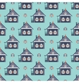 russian coutry house seamless pattern izba vector image