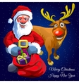 Santa Claus with gift bag and funny Christmas deer vector image