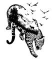 Double exposure Hand drawn leopard vector image