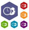 world planet with watch icons set hexagon vector image