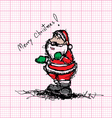Sketch drawing of Santa claus on graph paper vector image