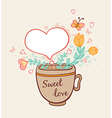 Cup of coffee and flowers vector image