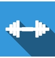 Dumbbell icon with long shadow vector image