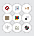 Flat icon play set of arrow chess table cube and vector image