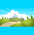 landscape city cloud sun vector image